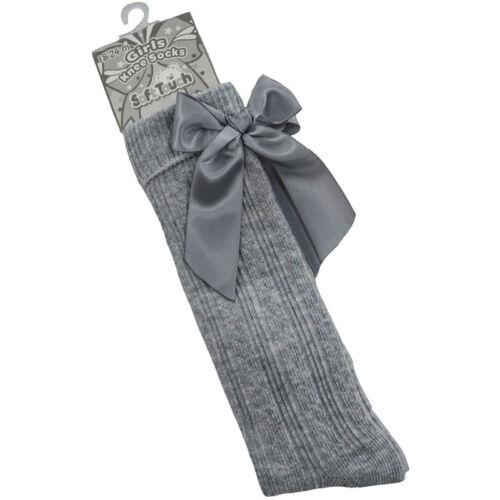 6 yrs Girls Kids Ribbed Knee Sock Satin Bow Spanish Romany Style Grey 18 Mths