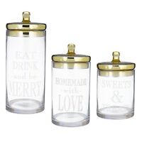 472101 S/3 Canister Jar Container Christmas Kitchen Decor Contemporary Gold-tone