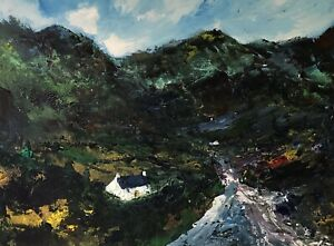ORIGINAL-PAINTING-Acrylic-On-Canvas-Halfway-Cottage-Snowdonia-40x30cms