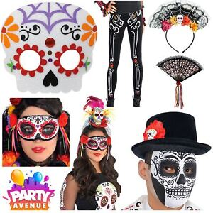 Image is loading Day-of-the-Dead-Costume-Accessories-Halloween-Sugar- a1186a3849f2