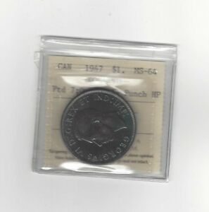 1947-Pointed-7-Quad-HP-ICCS-Graded-Canadian-Silver-Dollar-MS-64