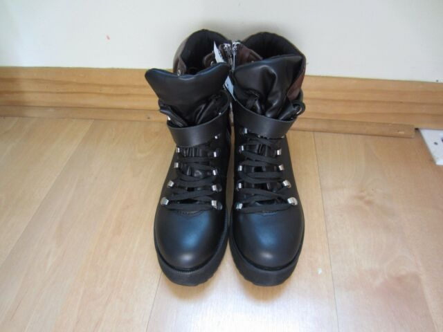 5c55f876871 New Steve Madden Black Leather Snow Boots | eBay