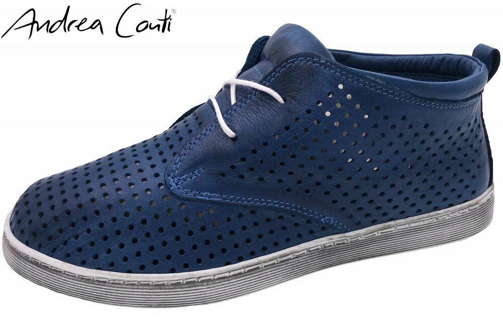 Andrea Conti High Top Turnschuhe Blau Schuhe Leder 0343425-274