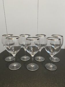 "VINTAGE SET OF 7 SILVER RIMMED WINE GLASSES 6"" TALL BARWARE MID CENTURY MODERN"