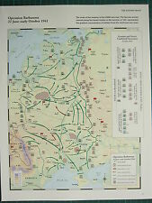WW2 WWII MAP ~ OPERATION BARBAROSSA 22 JUN-OCT 1941 GERMAN & SOVIET ATTACKS