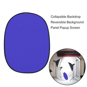 5x7ft Collapsible Backdrop Reversible Background Panel Popup Blue Black Screen
