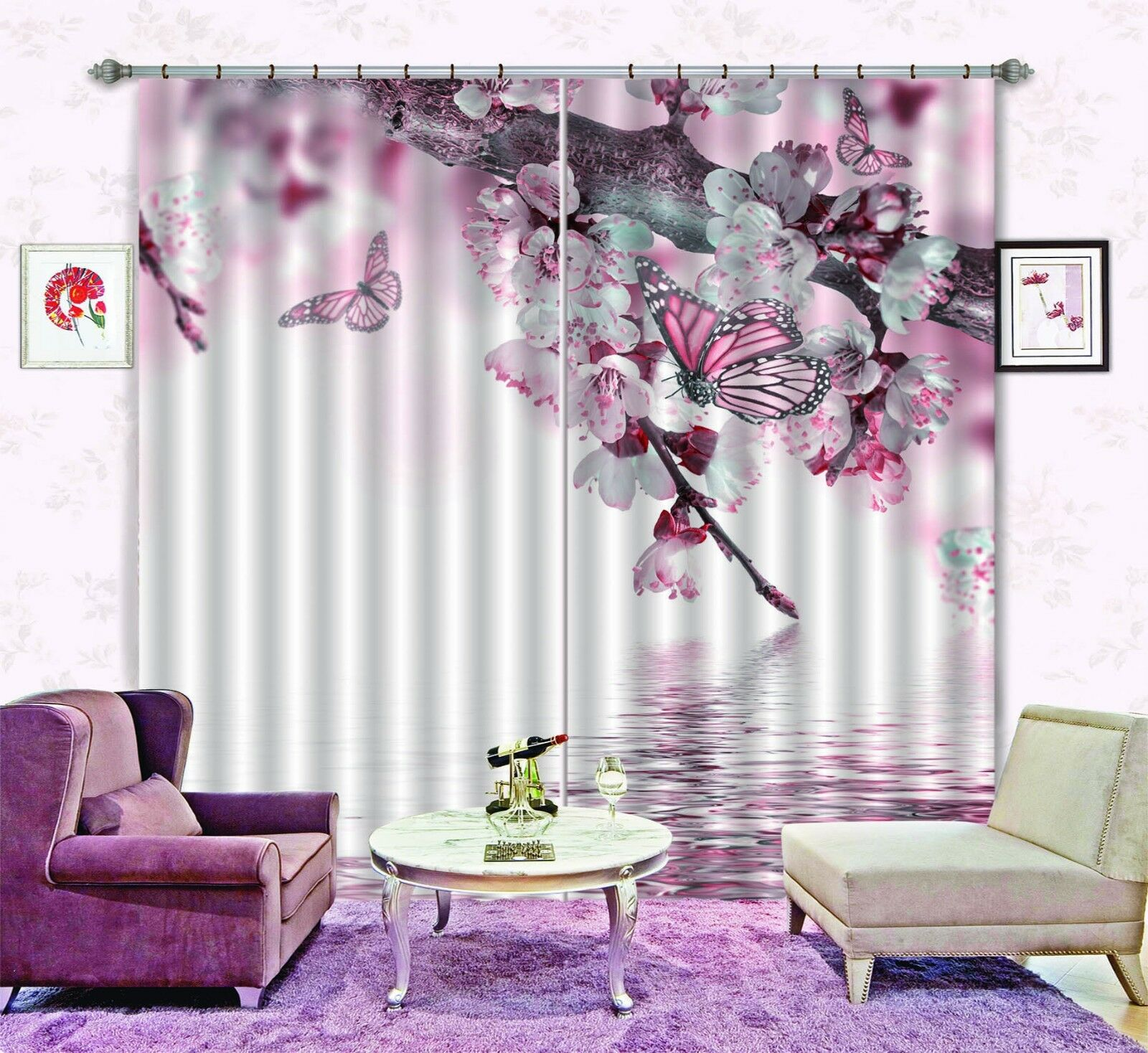 3D Butterfly 47 Blockout Photo Curtain Printing Curtains Drapes Fabric Window AU