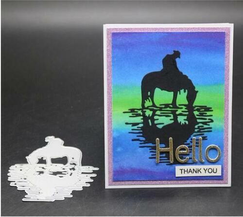 Reiten Pferd Metall Stencil Cutting Dies Scrapbooking Stanzschablone Handwerk