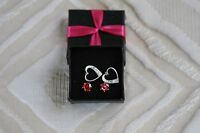 Avon Red Cz And Heart Stud Set In Gift Box Earrings Pierced