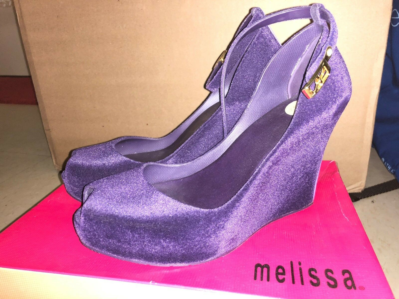 $199 Melissa Wedge, Purple, size 7, now $100
