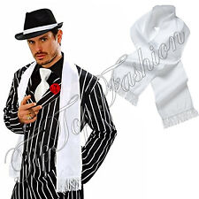 New Mens 20's 30's Gangster Mob Fancy Dress Gangster Al Capone White Satin Scarf
