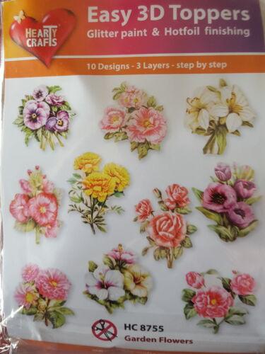 Easy 3D Die Cut Card Toppers Flowers Rose Carnation Peony Pancy etc 10 Designs