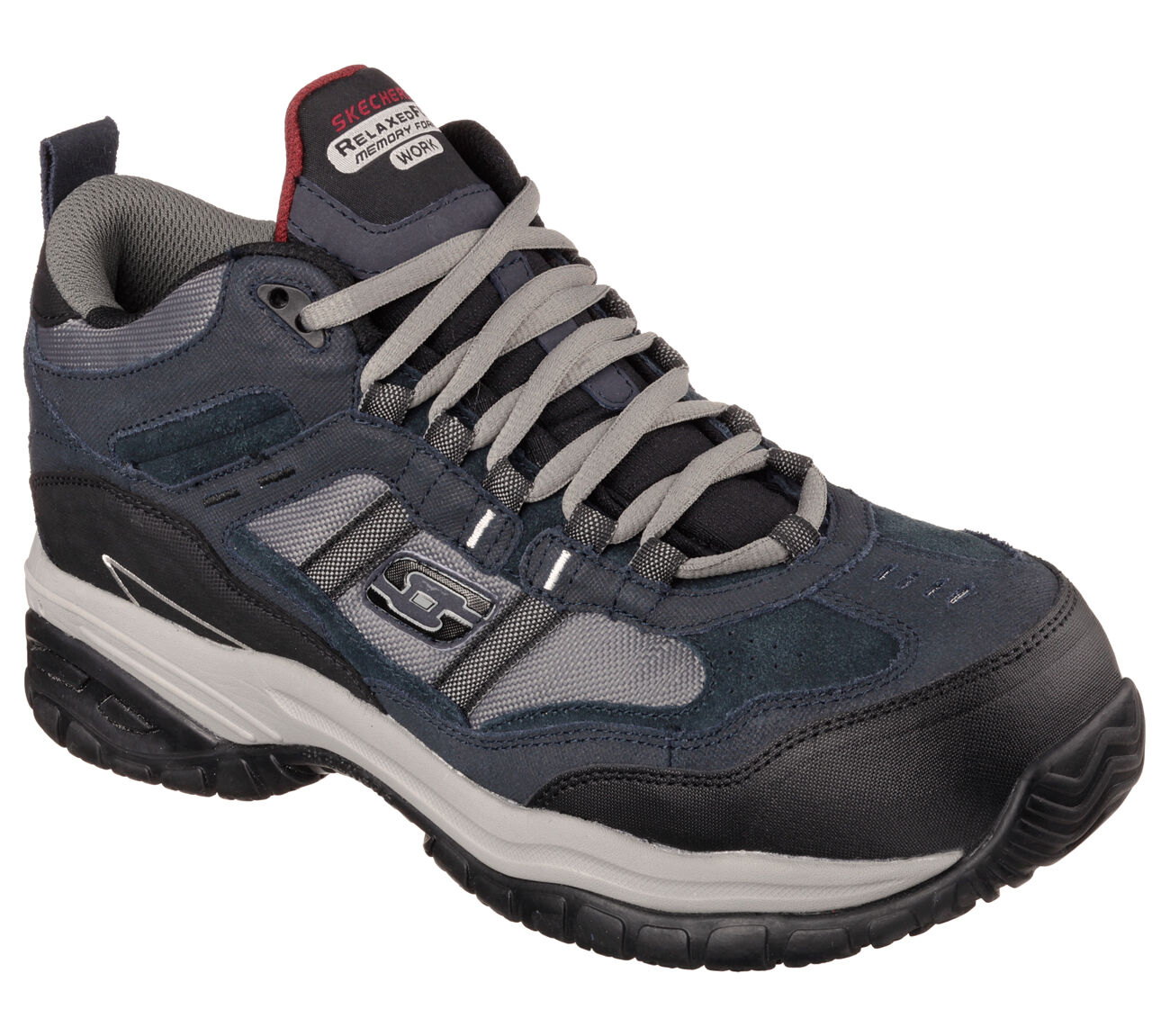 Men's SKECHERS WORK  RELAXED FIT Soft Stride - Canopy Com, 77027 NVGY Sizes 8-14
