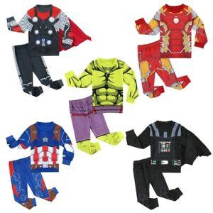 Kids Boys Superhero Cos Pyjamas Set Captain America Spider-Man Thor Hulk Outfits