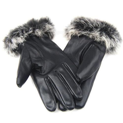 Nuevas damas de calidad de cuero negro suave invierno guantes de conducción para mujer caliente K3X3 R8