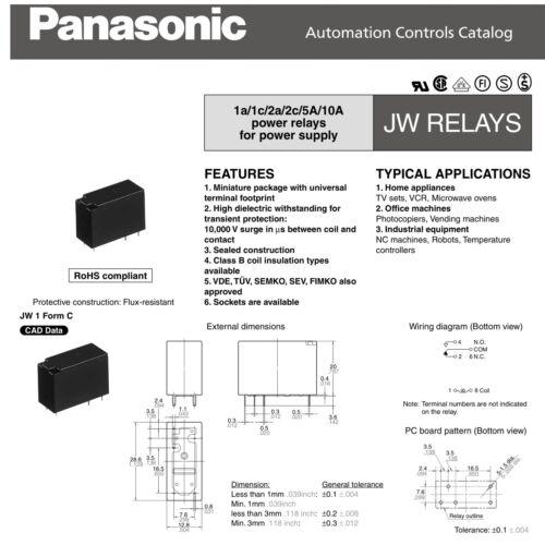 Panasonic JW1FSN-DC12V PCB Relay Miniature SPDT 10A @ 250VAC 12VDC 2-Pack