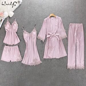 Women-Pajamas-5-Pieces-Satin-Sleepwear-Pijama-Silk-Home-Wear-Embroidery-Sleep-Pj