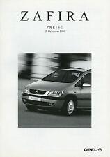 Preisliste Opel Zafira 12.12.00 Preise Auto PKW 2000 price list Comfort Elegance