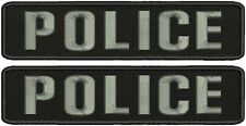 2 POLICE embroidery patches  2x9 hook with grey letters