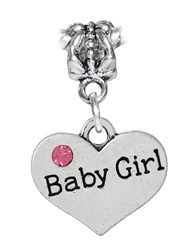 Baby Girl Heart Daughter New Mom Pink Rhinestone Dangle Charm for Euro Bracelets