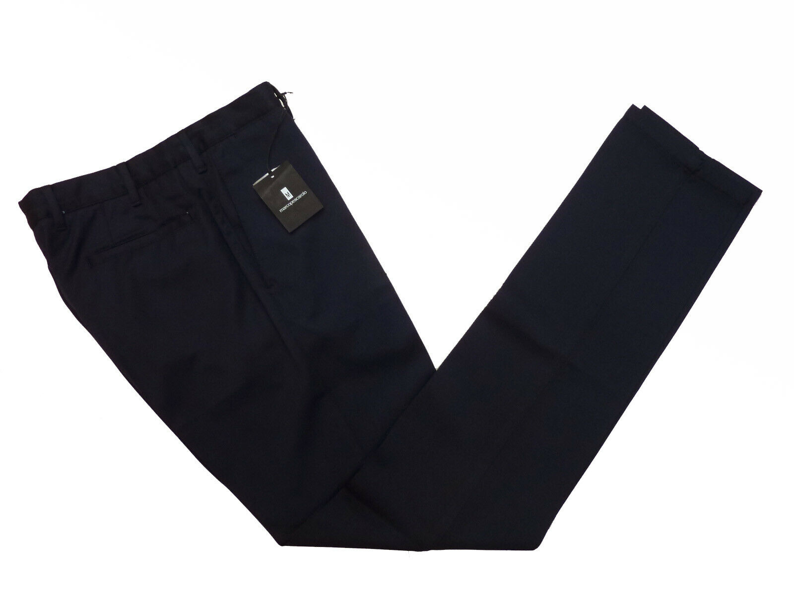 Marco Pescarolo Trousers  30  Washed navy bluee, flat front, washed wool