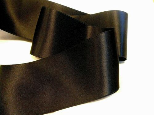 """2-3//4/""""  WIDE SWISS DOUBLE FACE SATIN RIBBON BLACK BY THE YARD"""