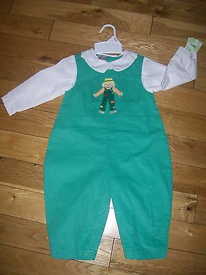 Petit Ami Outfit Boys Size 24 M Green Smocked Penguin Longalls NEW NWT 2PC Shirt