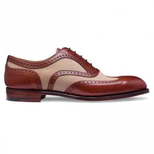 Homme Fait à la main Chaussures biCouleures en cuir beige & crème daim Oxford Richelieu à bout d'aile neuf