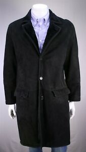Longhi-Black-French-Suede-Leather-w-Real-Fur-Liner-3-4-Length-Coat-42-Large