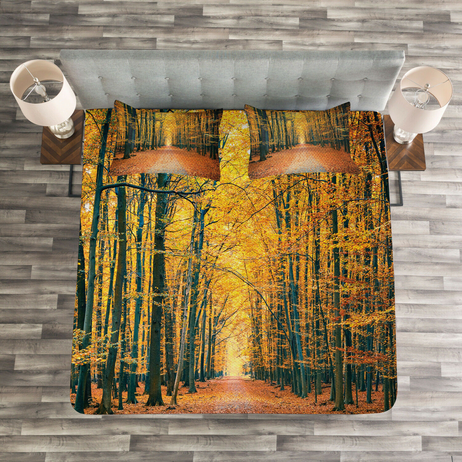Forest Quilted Bedspread & Pillow Shams Set, Romantic Alley Woods Print