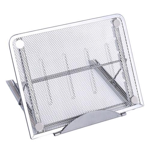 Foldable Laptop Riser Stand Adjustable Metal Mesh Portable Folding Desk Tray G