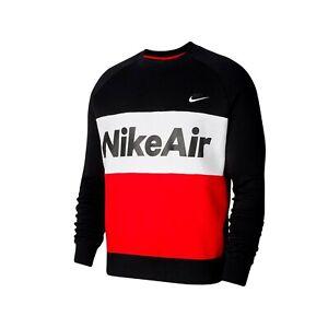 Nike NSW Air Fleece Crew Jumper Mens Pullover Black Size XL Casual Sweatshirt