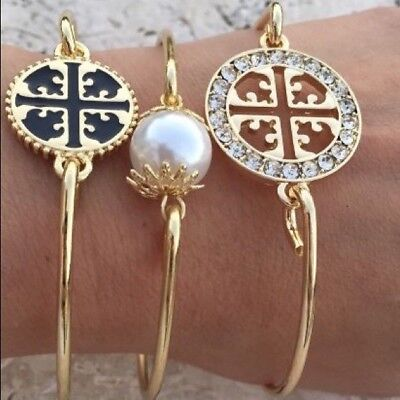 Three Bangle Fashion Jewelry Pearl Rhinestone Gold Bracelet Formal