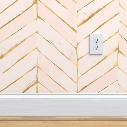 Removable Water-Activated Wallpaper Pink Peach Mod Blush Boho Chevron