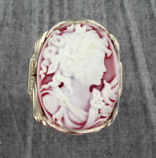 Large Red Cameo Resin Ring in Sterling Silver  Wire Wrapped