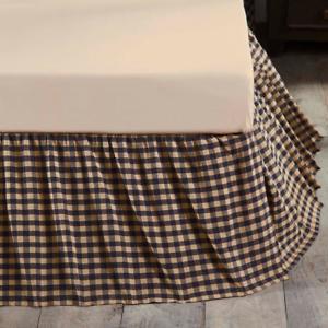 Navy Check Twin Bed Skirt Dust Ruffle Cotton Blue Khaki Farmhouse