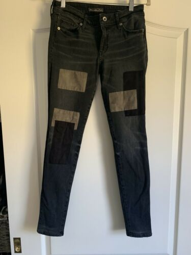 Abercrombie & Fitch Patchwork Black Jeans 26 30 Wo