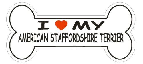 Love My American Staffordshire Terrier Bumper Sticker or Helmet Sticker D2572