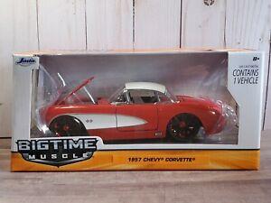 Jada-Bigtime-Muscle-1957-Chevrolet-Corvette-Personalizado-1-24-escala-Diecast-Car-Rojo