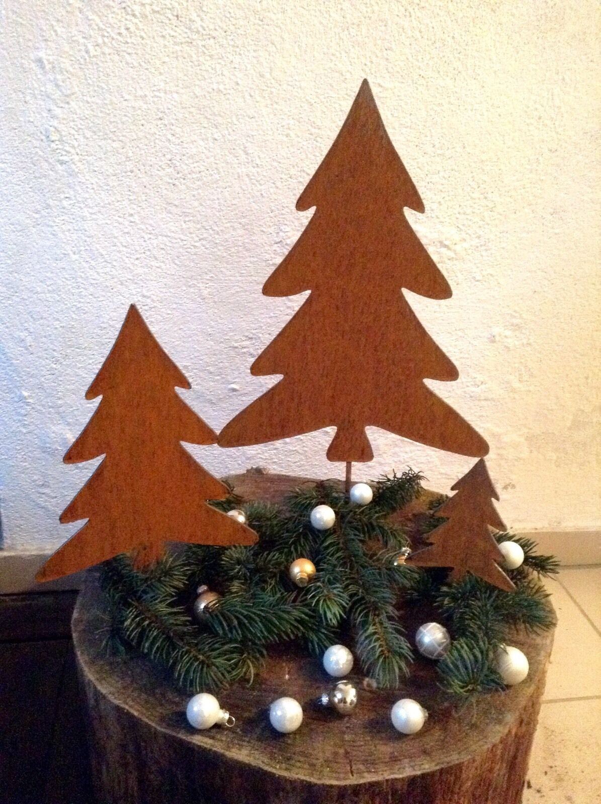 Edel óxido tannenbaum árbol de navidad Navidad set árbol figura gartendeko óxido de metal