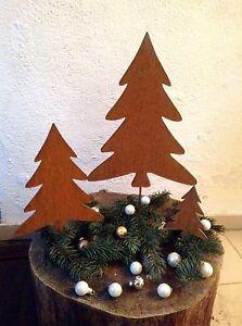 EDELROST-Tannenbaum-Christbaum-SET-Weihnachten-Baum-Figur-Gartendeko-Rost-Metall