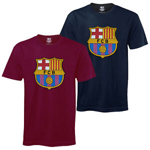 fc barcelone officiel t shirt de football pour enfant avec blason officiel ebay. Black Bedroom Furniture Sets. Home Design Ideas