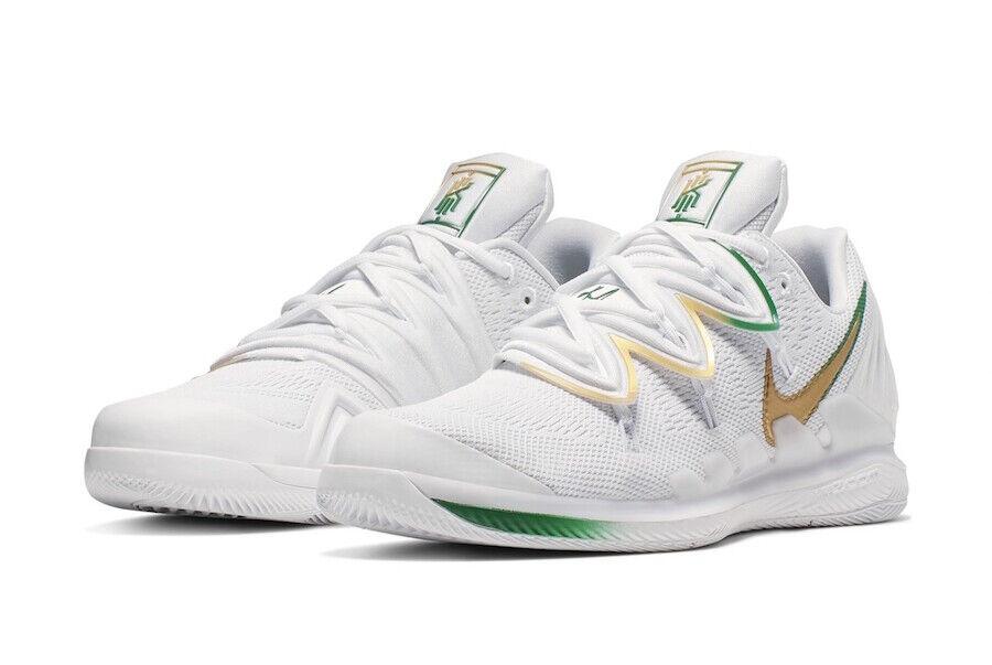 New Nike Air Zoom Vapor X Kyrie V Nick Kyrgios Shoes Boston Clover 14 White-Gold