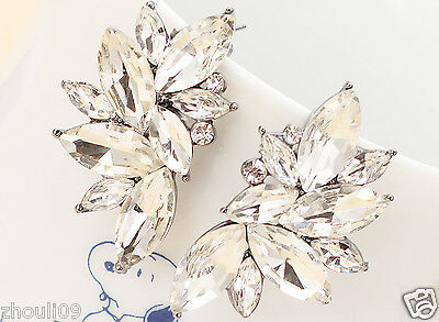 New Lady Woman Elegant clear crystal Rhinestone long Ear Studs hoop earrings 962