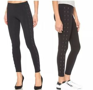 Nwt David Lerner Lattice Lace Up Black Leggings Size Medium M Ebay