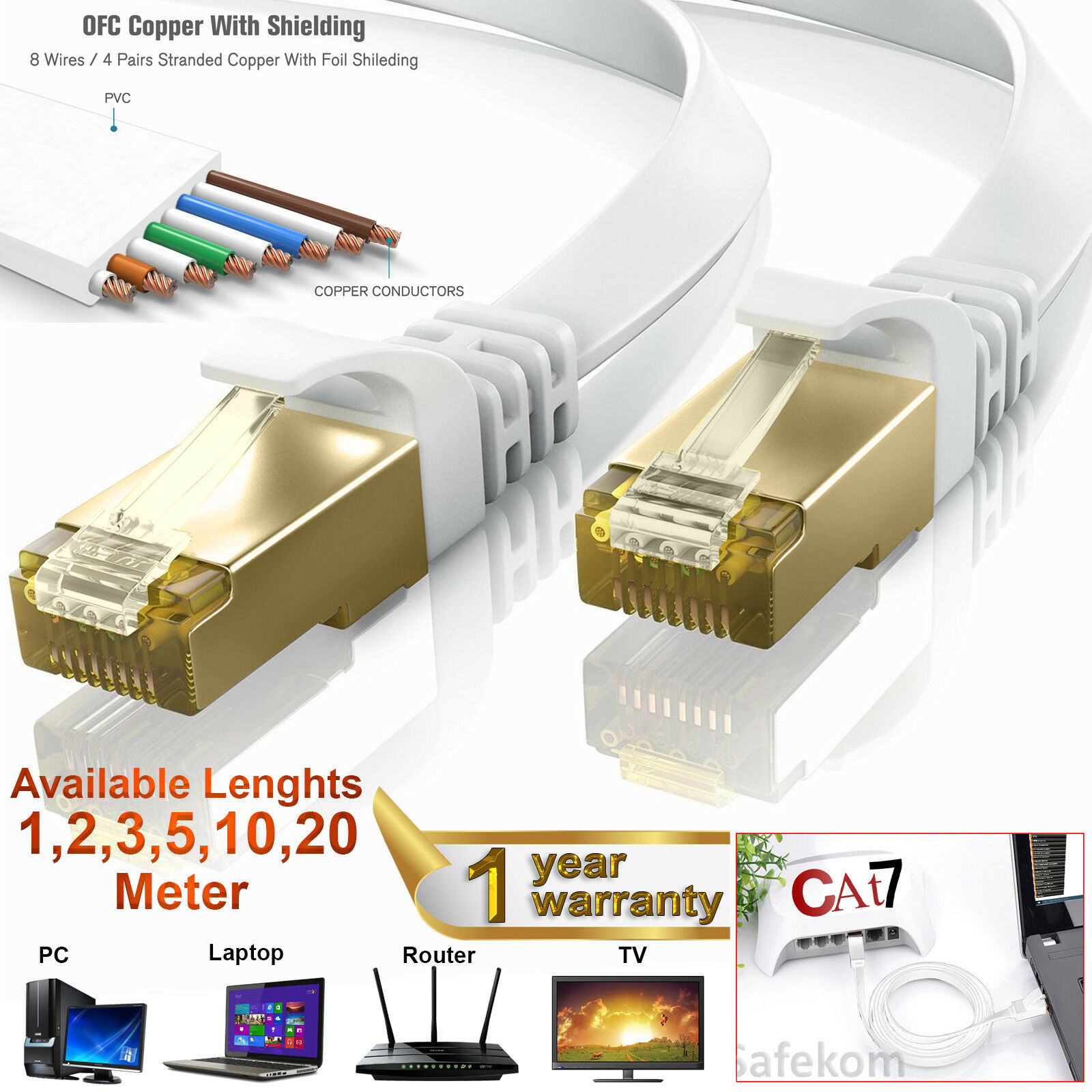 RJ45 CAT7 Network Ethernet SSTP 10Gbps Gigabit LAN Flat Round Cable ...