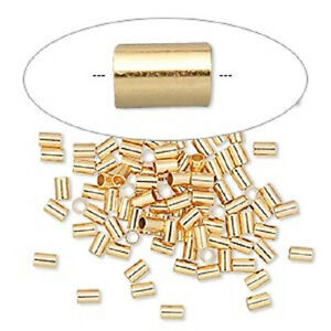 2599FY-Crimp-Bead-Tube-Stopper-Round-Gold-ptd-Brass-3x2mm-1-4-id-100-Qty