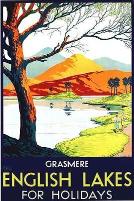 Vintage LMS Grasmere Lake District Railway Poster A3 / A2  Reprint