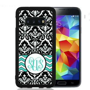 Monogram-Case-Fits-Samsung-Galaxy-S10-S9-S8-S7-Black-Damask-Teal-Chevron