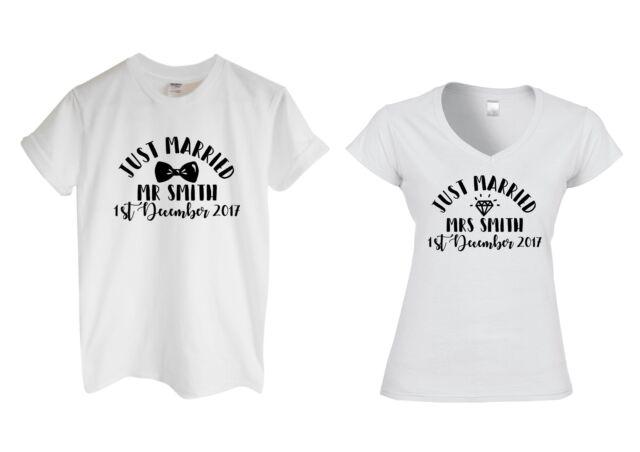 Paire de Just Married Mr et Mme Nom Personnalisé tshirts Mariage Mariée Future Femme